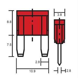 Durite Fuse Mini Blade Type Red 10A
