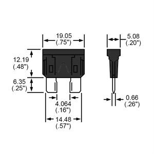 Durite Fuse Blade Type Black 1A